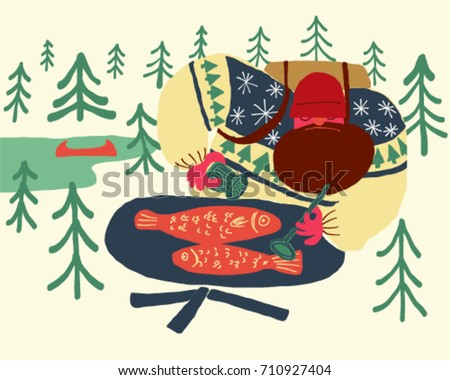 hipster man cooking fish while camping outdoor life vector illustration