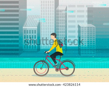Hipster man cycling his fixie bike. design character. vector illustration - stock vector
