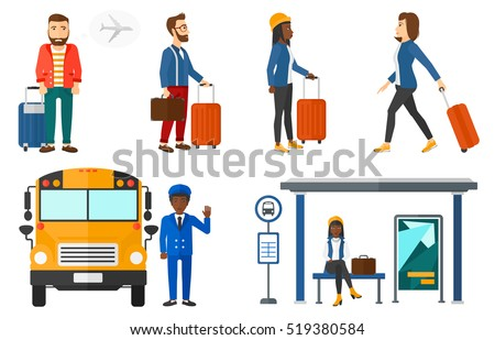 Hipster man frightened by future flight on airplane. Young man suffering from fear of flying. Phobia and fear of flying concept. Set of vector flat design illustrations isolated on white background.