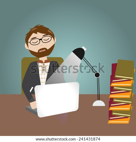 Hipster man have a lot of work and feeling sleepy and work over night - stock vector