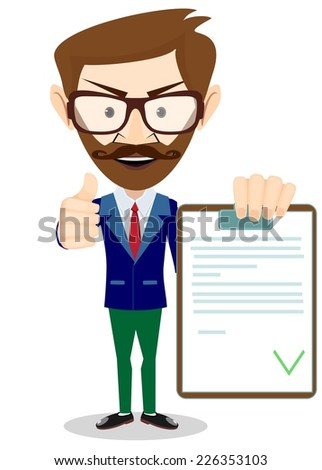 Hipster Man Holding a Document in Which All Approved, Validated, Agreed. The Document Put the Green Check Mark, Flags. Vector Illustration