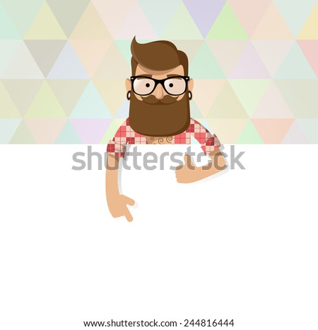 Hipster man standing behind billboard is showing on it and holding thumb up