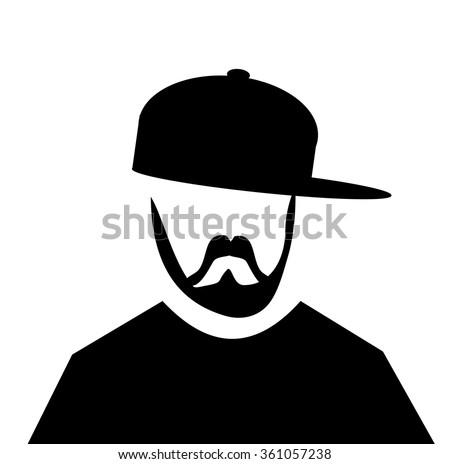 hipster man with beard wearing baseball cap sideways - stock vector