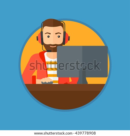Hipster man with the beard playing computer game. Gamer in headphones playing online games. Gamer using computer for playing game. Vector flat design illustration in the circle isolated on background. - stock vector