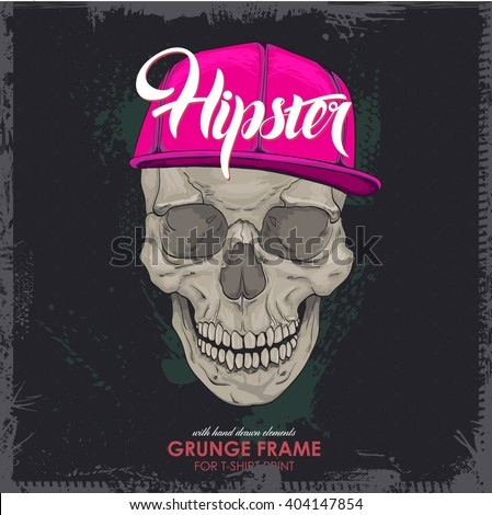 hipster marks, skull cap. Print for T-shirt. HIPSTER skull with cap print for t-shirt. cranium modern street style attributes. Vector art. cranium head for poster.