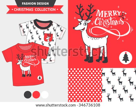 Hipster Merry Christmas fashion design set for baby and kids wear (artwork, seamless pattern).  - stock vector