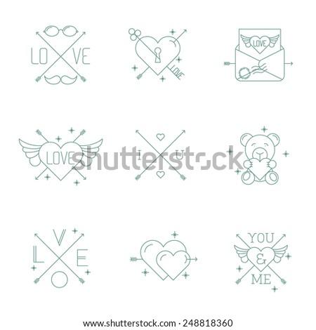Hipster minimalist vector Valentine day design elements set. - stock vector