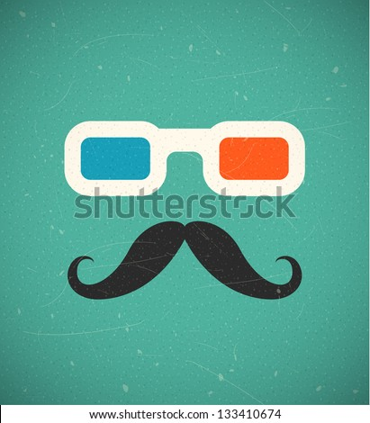 Hipster mustache and 3d cinema glasses. EPS10 vector background. - stock vector