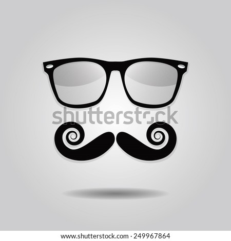 Hipster mustache and sunglasses icons on gray gradient background - stock vector