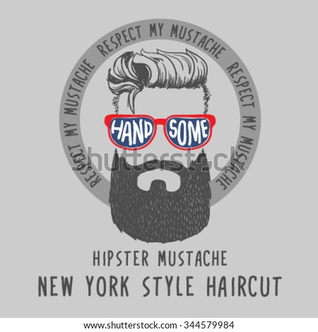 Hipster mustache. Hair style for New York City. Vector illustration for manufacturing companies. - stock vector
