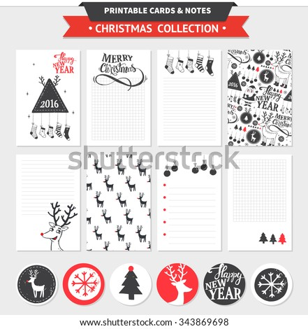 Hipster New Year and Merry Christmas set. Vector printable cards, notes and stickers with dear, santa, tree, snowflake, etc. - stock vector