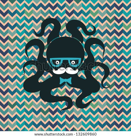 Hipster octopus - stock vector