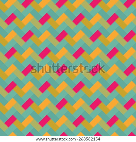 Hipster ornamental colorful abstract retro seamless pattern in vector. Seamless background with bricks can be used for wrapping paper, postcard, wallpaper, pattern fills, web page, surface textures.