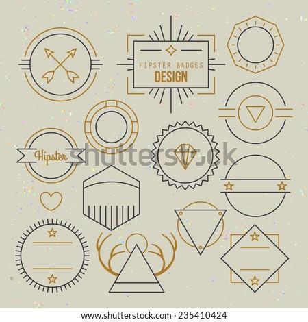 Hipster outline badges and emblems template for logo design - stock vector
