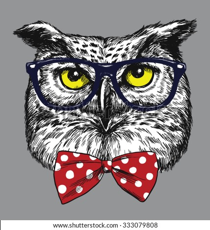 Hipster Owl with glasses and bow tie. Glasses and tie are separated. - stock vector