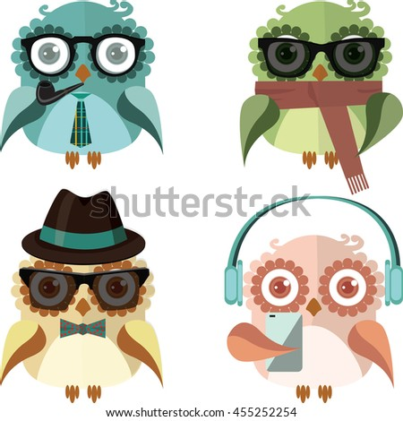 Hipster owls set. Cute colorful owls vector set.  - stock vector