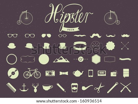 Hipster Pack of vector elements - stock vector