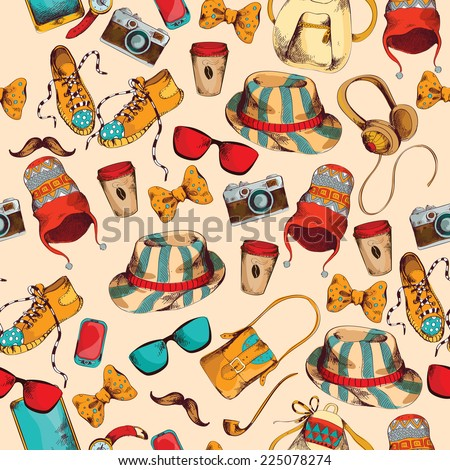 Hipster pack sketch coloder seamless pattern with retro fashion trendy  accesoories vector illustration - stock vector