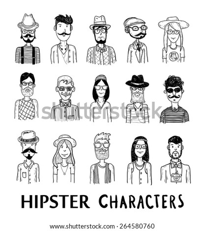 Hipster people icon set. vector illustrations. - stock vector