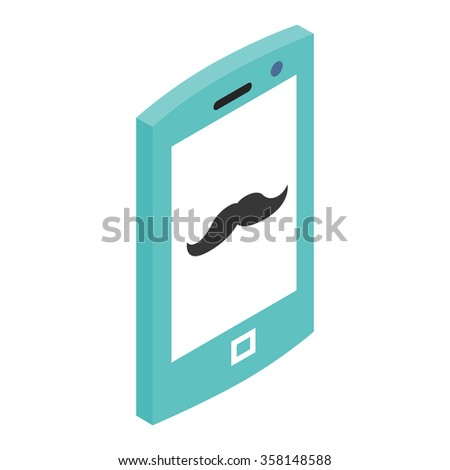 Hipster phone 3d icon isolated on a white background - stock vector