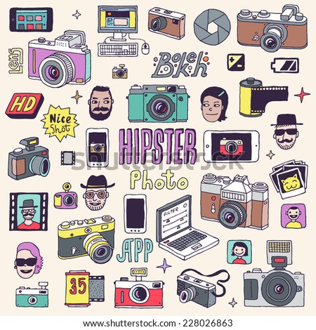 Hipster photo doodle hand drawn vector colorful set.