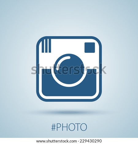 Hipster photo or camera icon. Flat with shadow simple design. EPS10 vector - stock vector