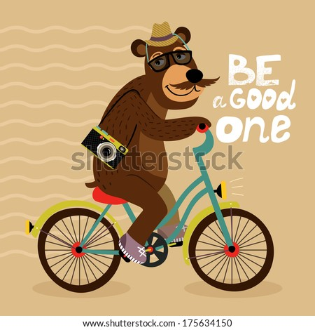 Hipster poster with geek bear riding bicycle vector illustration - stock vector