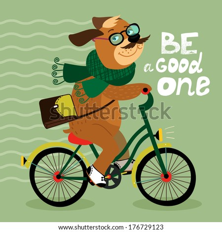 Hipster poster with nerd dog riding bike vector illustration