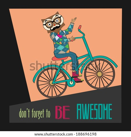 Hipster poster with nerd owl riding bike, vector illustration - stock vector