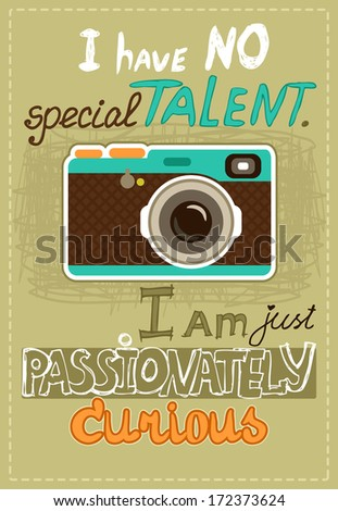 Hipster poster with vintage camera and message vector illustration - stock vector
