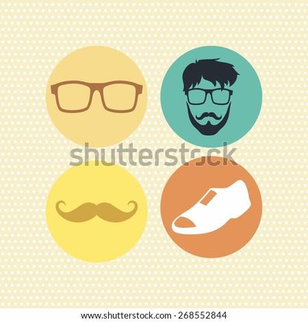 hipster retro icon art - stock vector