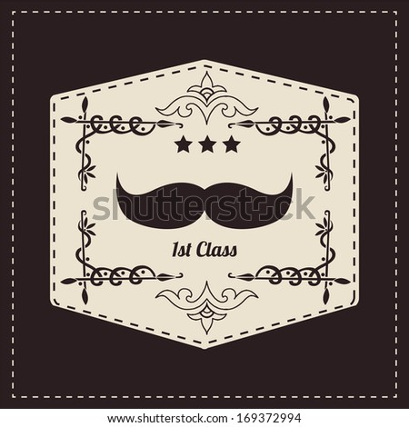 Hipster retro mustache, vector illustration - stock vector