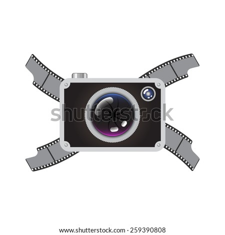 Hipster Retro Style Photo Camera with Crossed Film - stock vector