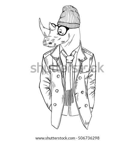 Hipster Rhino Dressed Up In Coat Furry Art Illustration Fashion Animals