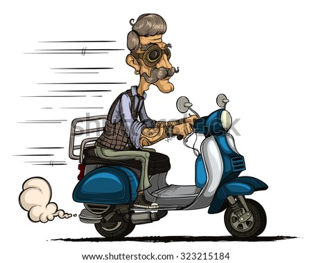 Hipster ride on scooter. Colored and isolated
