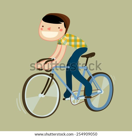 hipster riding fixie. boy riding road bike. character isolated. vector illustration - stock vector