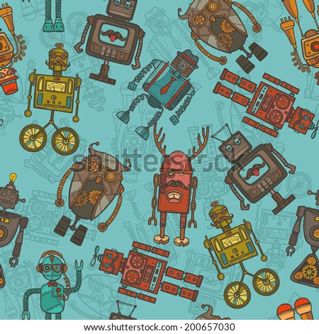 Hipster robot retro humanoid avatar colored seamless pattern vector illustration - stock vector