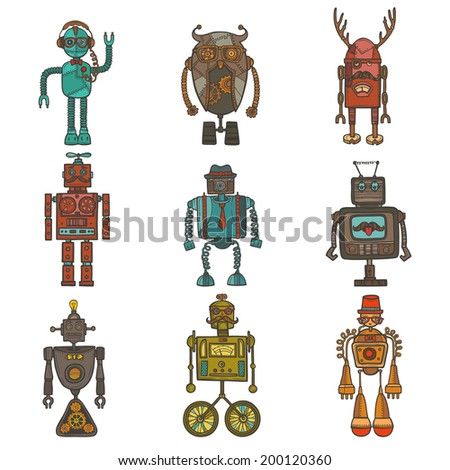 Hipster robot retro humanoid avatar icons set isolated vector illustration - stock vector