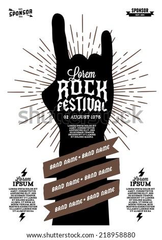 hipster rock festival poster with hand ribbon lightning starburst - stock vector