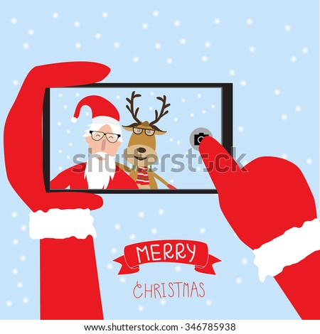 Hipster santa claus and reindeer selfie with smartphone for merry christmas vector. illustration EPS10. - stock vector