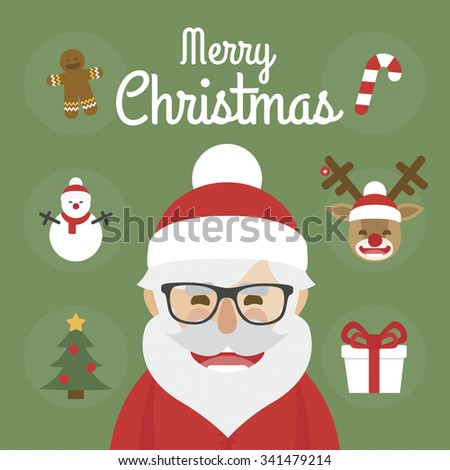 Hipster Santa Claus character illustration and christmas icons set. Merry Christmas - stock vector