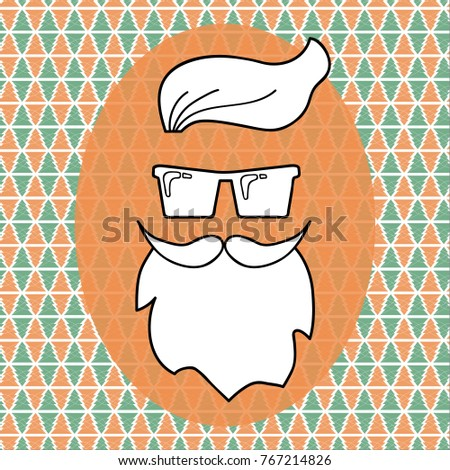 Hipster Santa Claus Over Christmas Background Vector Illustration Party Invitation Greeting Card