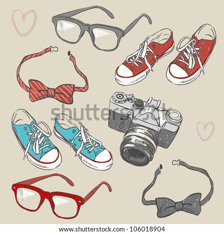Hipster set - stock vector