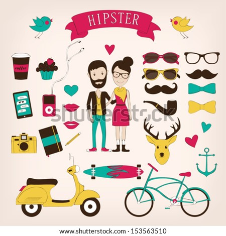 Hipster set icons - stock vector