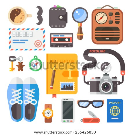 Hipster set. Shoes, glasses, notebook, camera, compass, etc. Flat vector illustration. - stock vector