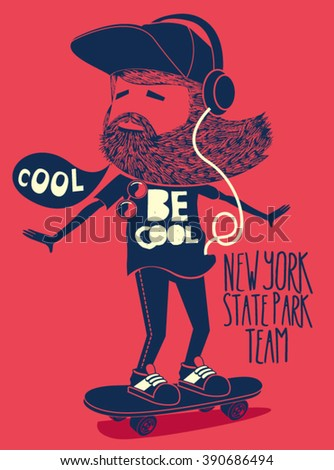 hipster, skater vector design - stock vector