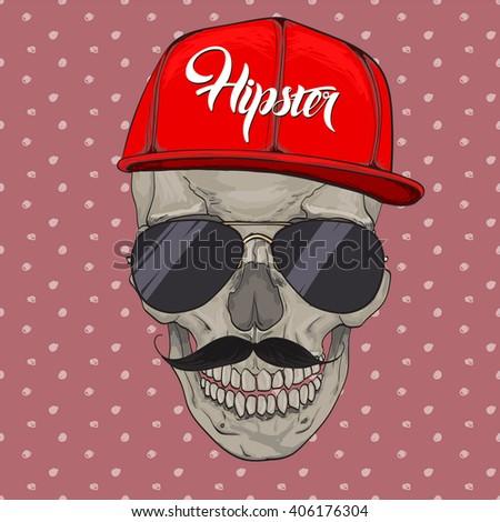 Hipster skull cap. Hipster skull in beanie hat and glasses, t-shirt design print - stock vector