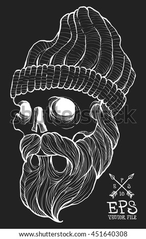 hipster skull with beard and skullcap