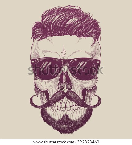 Hipster skull with sunglasses, hipster hair and mustache - stock vector