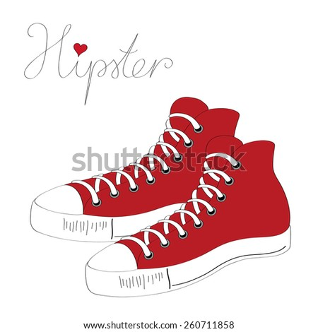 Hipster sneakers vector illustration  - stock vector